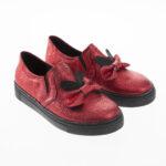 حذاء بناتي أحمر كعب أسود تصميم حديث – صناعة تركية1