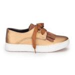 حذاء بناتي دهبي كعب أبيض تصميم حديث – صناعة تركية1