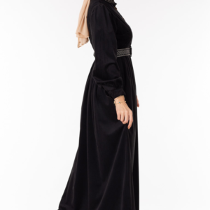 فستان نسائي أسود مع أزرار تصميم جذاب – صناعة تركية