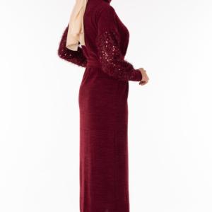 فستان نسائي بورجوندي تصميم حديث و رائع - صناعة تركية