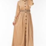 فستان نسائي بيج مع أزرار تصميم جذاب – صناعة تركية2