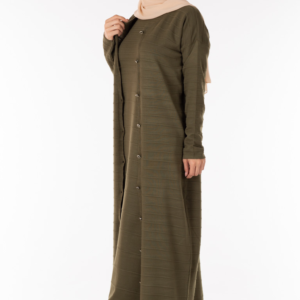 فستان نسائي زيتي مع معطف تصميم حديث و جذاب – صناعة تركية