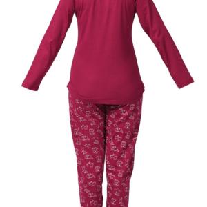 بيجامة نوم نسائية حمراء مطبوعة تصميم جذاب - صناعة تركية