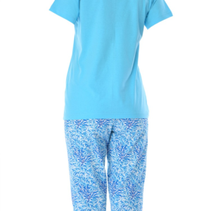 بيجامة نوم نسائية زرقاء مطبوعة تصميم رائع - صناعة تركية