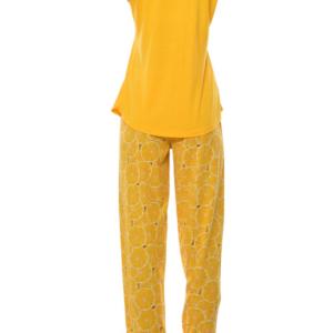 بيجامة نوم نسائية صفراء مطبوعة تصميم رائع و جذاب - صناعة تركية