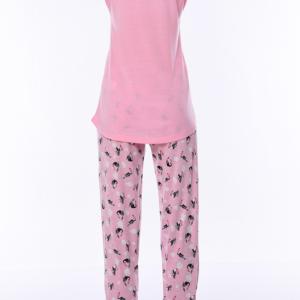 بيجامة نوم نسائية وردية مطبوعة تصميم رائع و جذاب - صناعة تركية