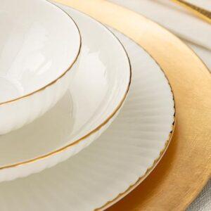 طقم صحون سفرة ذهبي مكون من 16 قطعة تصميم حديث وراقي – صناعة تركية