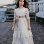 فستان مناسبات بناتي أبيض مطرز بتصميم جميل و جذاب – صناعة تركية