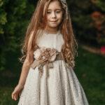 فستان مناسبات بناتي بيج مطرز بتصميم جميل و جذاب – صناعة تركية